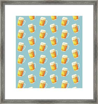 Ice Cold Beer Pattern Framed Print by Little Bunny Sunshine
