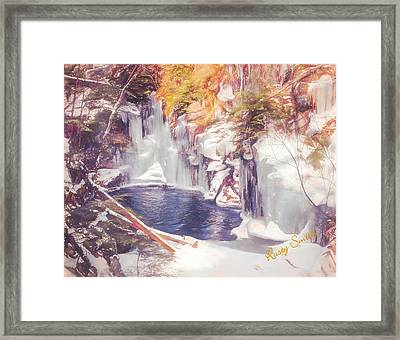 Ice Cold View Of Sages Ravine. Northwest Connecticut Framed Print