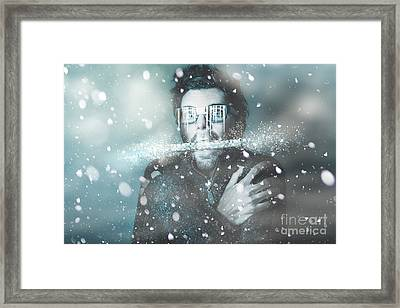 Ice Cold Winter Man In A Freeze Of Snow And Frost  Framed Print