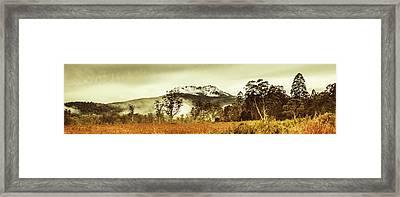 Ice Covered Mountain Panorama In Tasmania Framed Print
