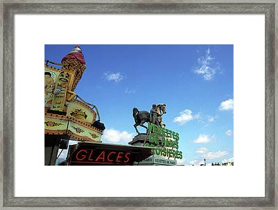 Ice Cream And The Statue Framed Print by Kathy Yates