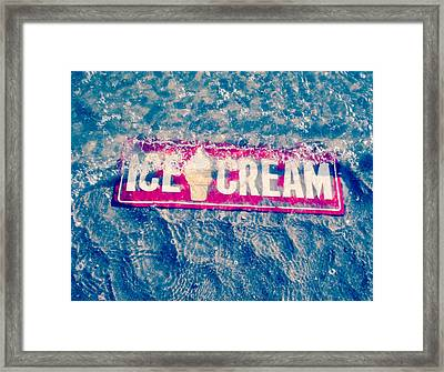 Ice Cream Beach Sign- Blue Abstract Framed Print by Tony Grider
