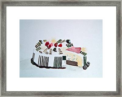 Ice Cream Cake Watercolor Framed Print
