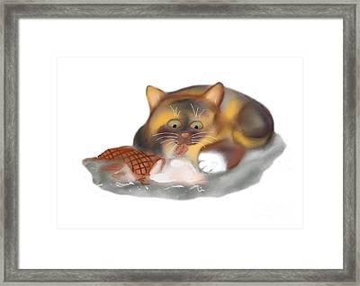 Ice Cream Cone For Kitten Framed Print by Ellen Miffitt