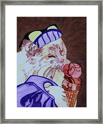 Ice Cream Kitty Framed Print