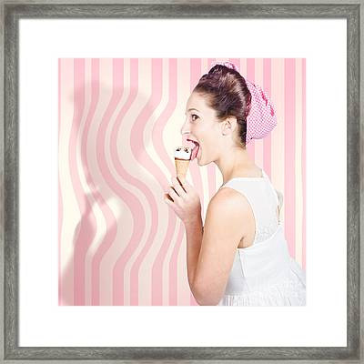 Ice Cream Pin-up Poster Girl Licking Waffle Cone Framed Print