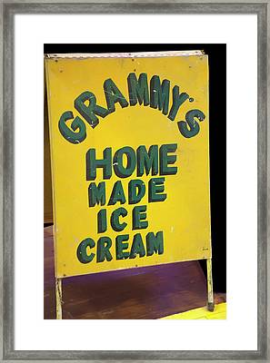 Framed Print featuring the photograph Ice Cream Sign by Chris Flees