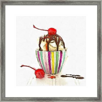 Ice Cream Sundae Pencil Framed Print
