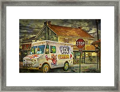 Ice Cream Truck Crossing An Urban Intersection Framed Print by Randall Nyhof