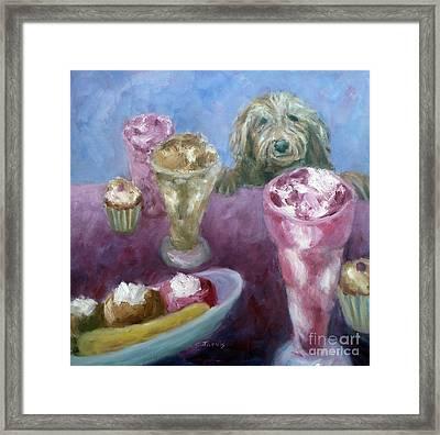 Ice Cream With Dog Framed Print