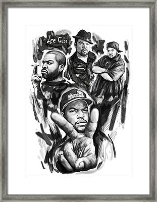 Ice Cube Blackwhite Group Art Drawing Poster Framed Print
