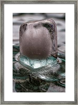 Framed Print featuring the photograph Ice Cube On Glass V2 by Rico Besserdich