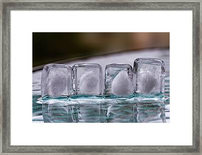 Framed Print featuring the photograph Ice Cubes In A Line by Rico Besserdich
