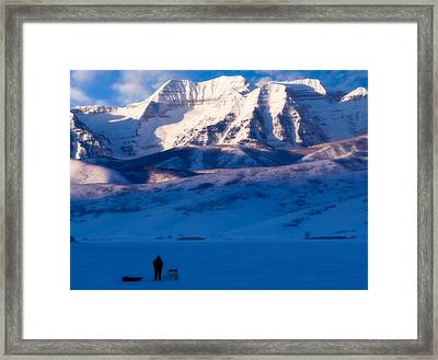 Ice Fisherman On A Winter Morning Framed Print by Utah Images