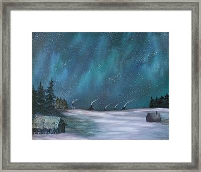 Ice Fishing Huts Framed Print by Rebecca  Fitchett
