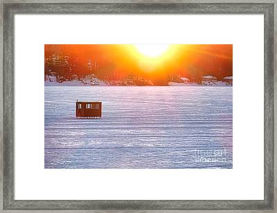Ice Fishing On China Lake Framed Print by Olivier Le Queinec