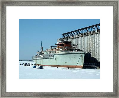 Ice Fishing On Lake Erie Framed Print by Ely Arsha