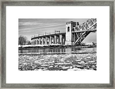 Ice Flows On The East River Framed Print