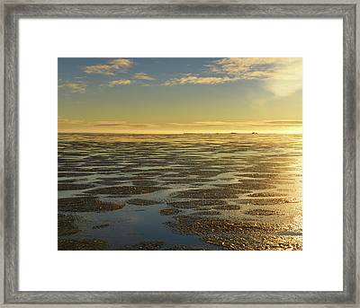 Ice Formation Over Calm Water Of The Beaufort Sea At Barter Isla Framed Print