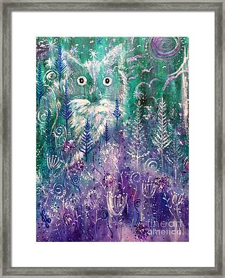 Ice Fox Framed Print by Julie Engelhardt