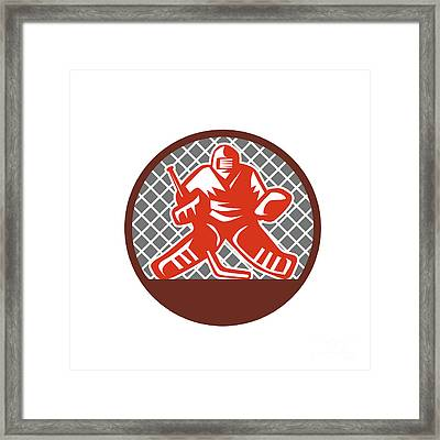Ice Hockey Goalie Circle Retro Framed Print
