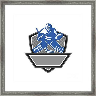 Ice Hockey Goalie Crest Retro Framed Print