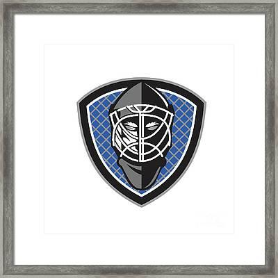 Ice Hockey Goalie Helmet Crest Retro Framed Print