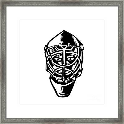Ice Hockey Goalie Helmet Woodcut Framed Print by Aloysius Patrimonio