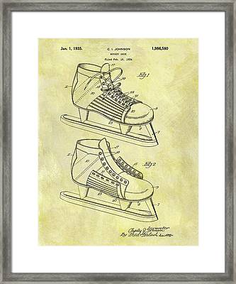 Ice Hockey Skates Patent Image Framed Print by Dan Sproul