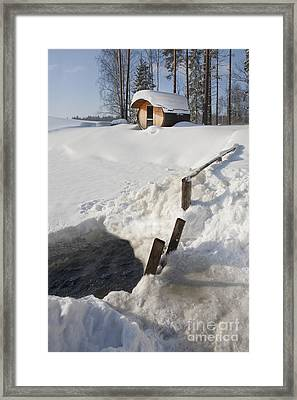 Ice Hole And Sauna At A Resort Framed Print by Jaak Nilson