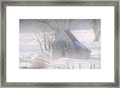 Ice House Fog Framed Print
