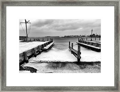 Ice In The Bay Framed Print by John Rizzuto