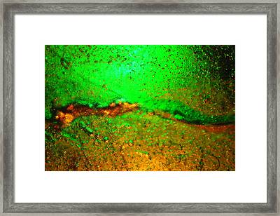 Ice Light Painting - Green And Gold Framed Print by Marcus Adkins