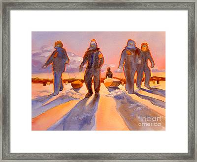 Ice Men Come Home Framed Print by Kathy Braud