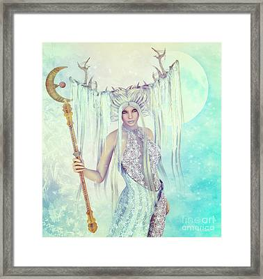 Framed Print featuring the digital art Ice Moon Princess by Jutta Maria Pusl