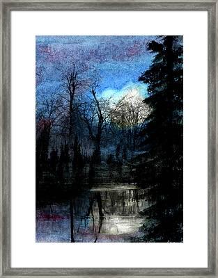 Ice Pond Moonrise Framed Print