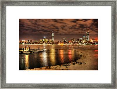 Ice On Charles River Framed Print by Craig A Stevens