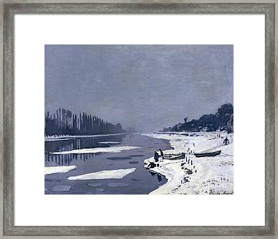Ice On The Seine At Bougival Framed Print by Claude Monet