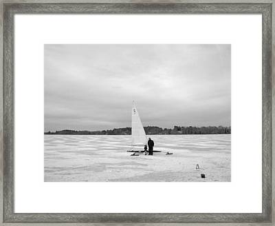 Ice Sailing Father And Daughter Framed Print by Mary Ann Weger