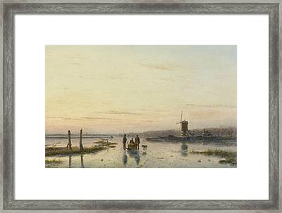 Ice Scene With Mill Framed Print by Andreas Schelfhout