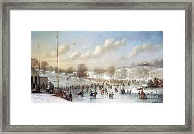 Ice Skating, 1865 Framed Print by Granger