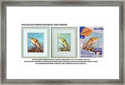 Ice Walleye Framed Print by Jon Q Wright