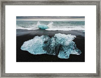 Framed Print featuring the photograph Iceberg And Black Beach In Iceland by Matthias Hauser
