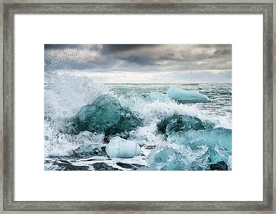 Framed Print featuring the photograph Icebergs And Crashing Waves In Iceland by Matthias Hauser