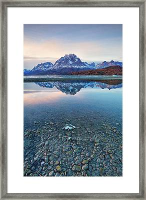 Icebergs And Mountains Of Torres Del Paine National Park Framed Print by Phyllis Peterson