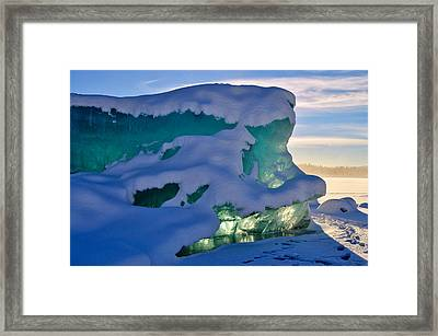 Iceberg's Glow - Mendenhall Glacier Framed Print by Cathy Mahnke