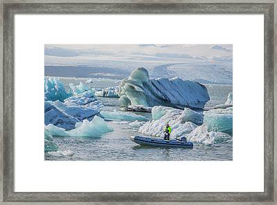 Icebergs On Jokulsarlon Lagoon In Iceland Framed Print