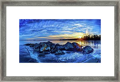Icebound Sunset Framed Print by ABeautifulSky Photography