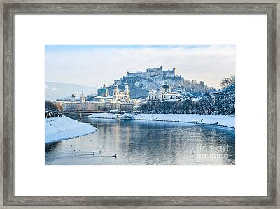 Icecold View Of Salzburg Skyline Framed Print by JR Photography