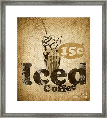 Iced Coffee Cafe Tin Sign Framed Print
